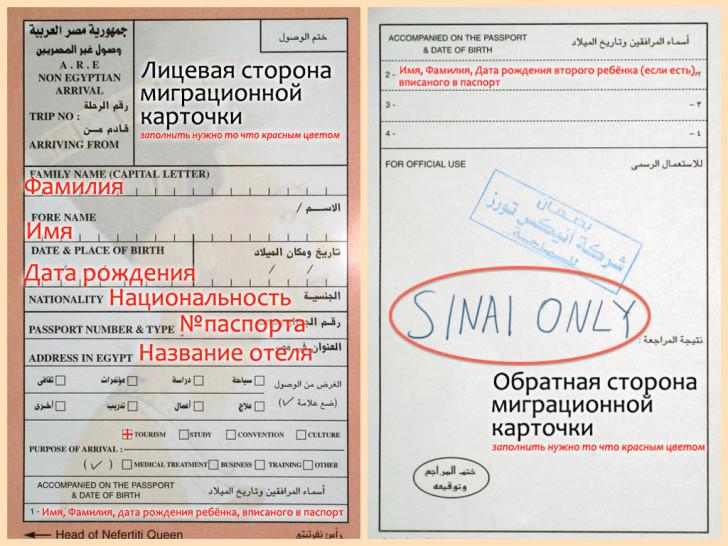 Образец заполнения миграционной карты в Египет