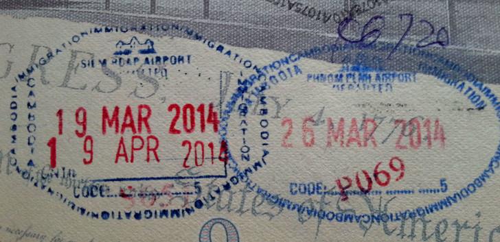 Штамп о пересечении границы Камбоджи