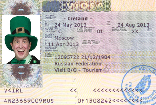 Фотография визы в Ирландию