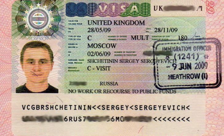Фотография визы в Великобританию