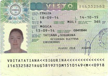Национальная виза D в Италию