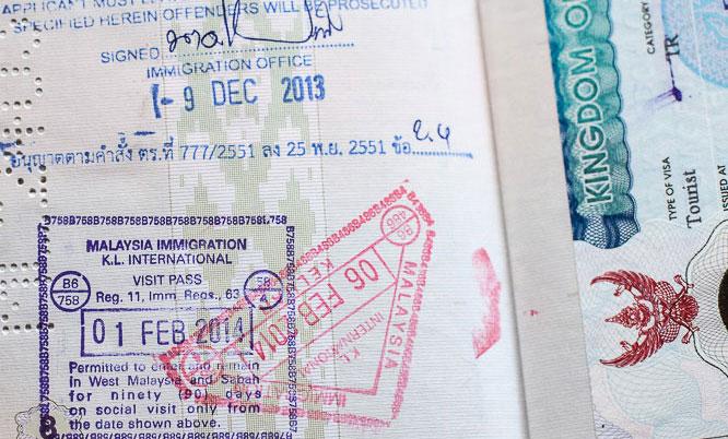 Штамп о пересечении границы Малайзии