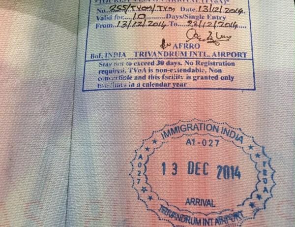 Штамп в паспорте о посещении Индии