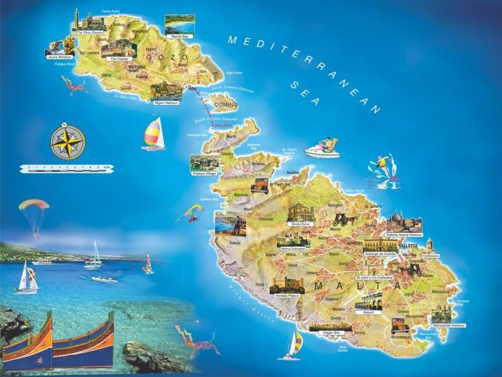 Достопримечательности Мальты на карте
