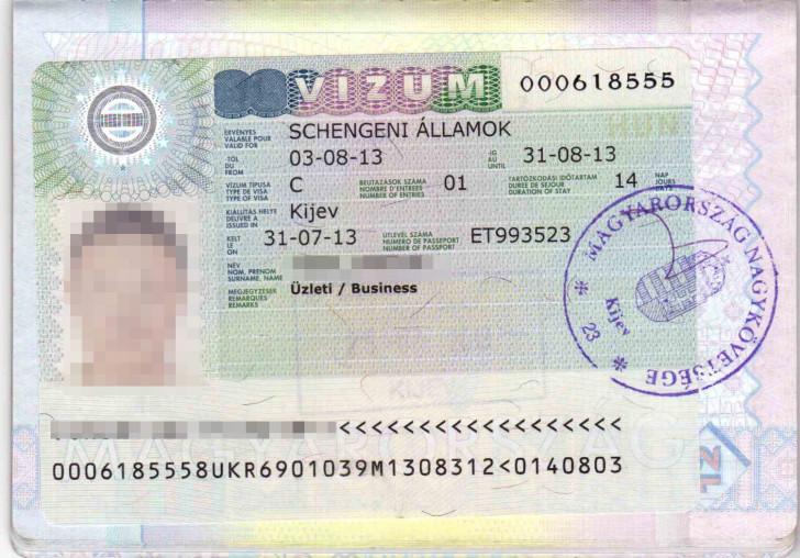 Фотография визы в Венгрию