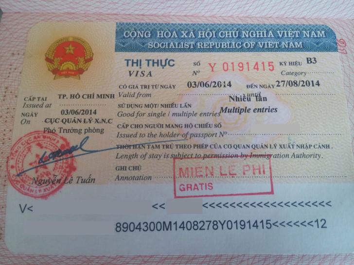Фотография вьетнамской визы